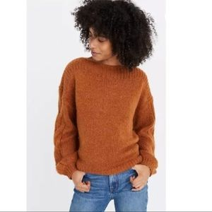 Madewell Cable-Sleeve Boatneck Knit Sweater Sz S